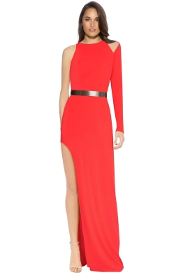 Halston Heritage - Asymetric Sleeve Gown - Lipstick - Front