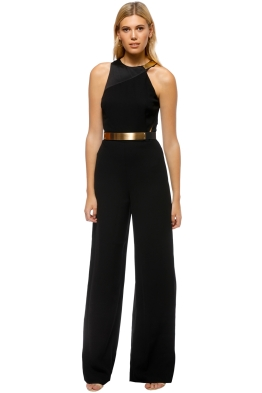 Halston Heritage - Asymetrical Jumpsuit - Black - Front