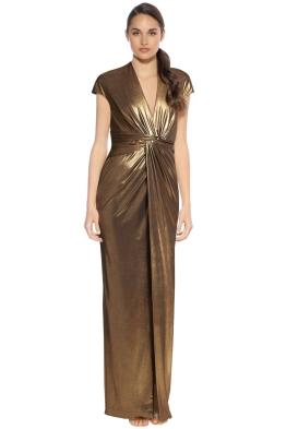 Halston Heritage - Cap Sleeve Gown - Bronze - Front