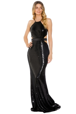 Halston Heritage - Halter Sequin Gown - Black - Front
