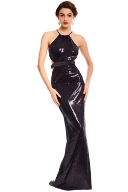 Halston Heritage - Halter Sequinned Gown - Navy Black - Front
