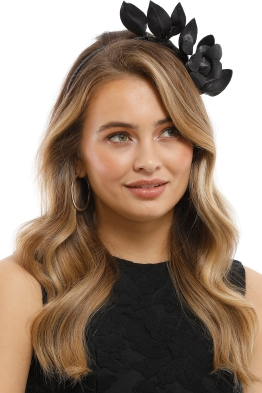 Heather McDowall - Olive Fascinator - Black - Side Model