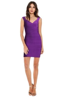 Herve Leger - Crisscross Openback Bandage Dress in Bright Violet - Front