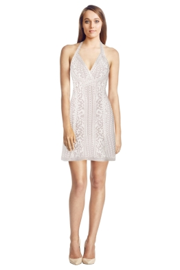 Hervé Léger - Danae Halter Neck Bandage Mini Dress - White - Front