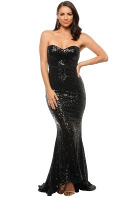 Elle Zeitoune - Cheyna Black Gown - Front