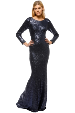 Jadore - Long Sleeve Sequinned Dress - Navy - Front
