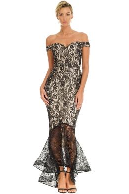 Jadore - Off Shoulder Lace Dress - Black Nude - Front