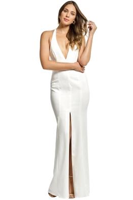Jay Godfrey - Lena Deep V Halter Gown - Ivory - Front