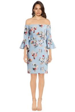 Jayson Brunsdon - Artise Floral Off Shoulder Dress - Blue - Front