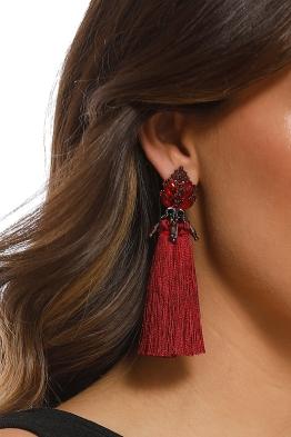 Jewelled Top Tassel Earrings - Burgundy - Product