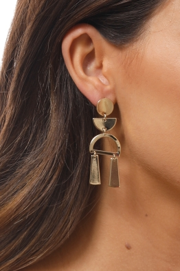 Jolie and Deen - Selma Earrings - Gold - Side