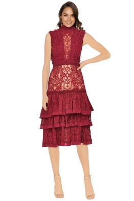 Jonathan Simkhai - Tower Lace Ruffle Dress - Front