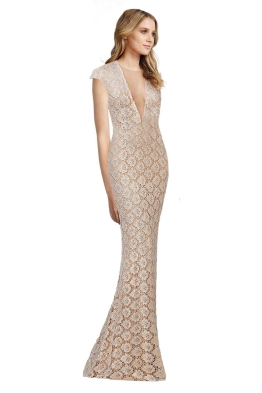 Jovani - Lace Fitted Cap Sleeve Gown - Gold - Front