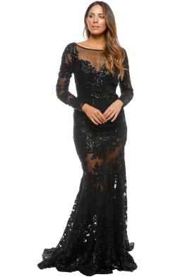 Jovani - Long Sleeve Lace Dress - Black - Front