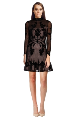 Karen Millen - Embroidered High-Neck Mini Dress - Front