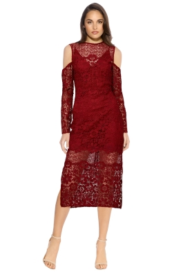 Keepsake - Reach Out LS Midi Dress - Plum - Front - Wine Red
