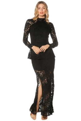 Keepsake - Star Crossed Lace Gown - Black - Front