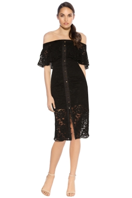 Keepsake - Star Crossed Lace Midi Dress - Black - Front