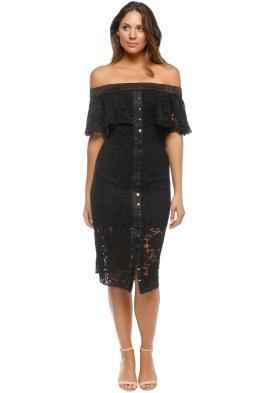 Keepsake The Label - Star Crossed Lace Midi Dress - Black - Front