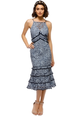 Keepsake the Label - Catch Me Lace Midi Dress - Blue - Front