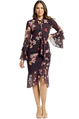 Keepsake the Label - Evolve Top and Skirt Set - Black Floral - Front