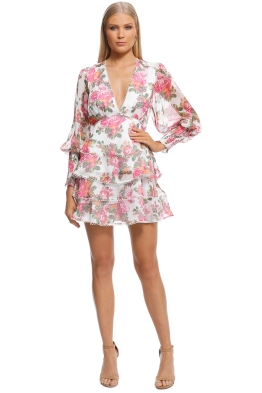 Keepsake The Label - Oblivion LS Mini Dress - Ivory Floral - Front