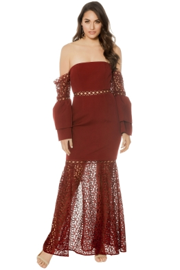 Keepsake The Label - Uplifted Gown - Burnt Red - Front