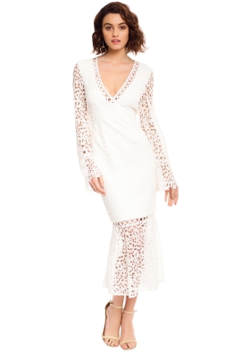Keepsake the Label - Uplifted LS Midi Dress - White - Front