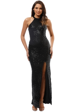 L'Amour - Diana Halter Gown - Black - Front