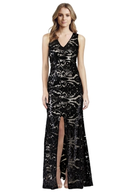 Langhem - Ellie Black and Nude Sequin Evening Dress - Front
