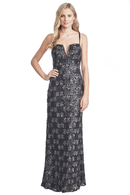 Langhem - Taylor Evening Black Sequin Gown - Front