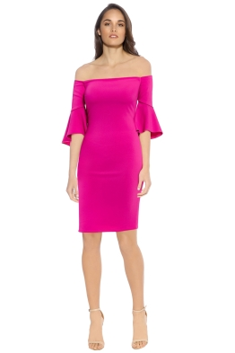 Laundry by Shelli Segal - Off Shoulder Crepe Dress - Front - Shocking Pink
