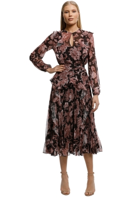 Lover-Florence-Pleat-Midi-Dress-Cocoa-Front