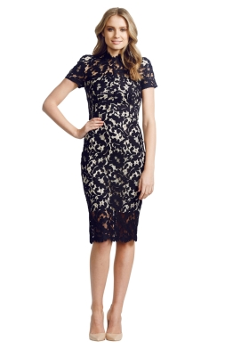 Lover - Midi Warrior Lace Dress - Front - Black