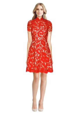 Lover - Mini Warrior Lace Dress - Front - Red