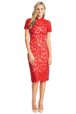 Lover - Midi Red Warrior Lace Dress - Red - Front