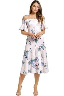 Lover - Petunia Off Shoulder Midi Dress - Pearl - Front