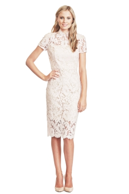 Lover - Midi Warrior Lace Dress - Front - Rose