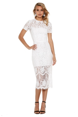 Lover - Snow Lace Sheath Dress - White - Front