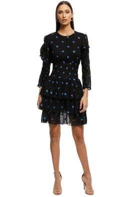 Maje-Rocko Dress-Blue-Black-Front