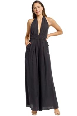 Milly - Halter Jumpsuit - Black - Front
