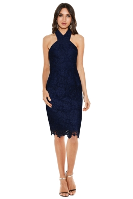 Ministry of Style - Cross Section Fitted Midi Dress - Navy - Front