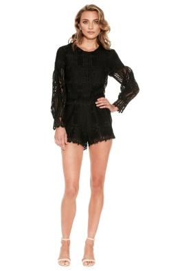 Ministry of Style - Lattice Lace Playsuit - Black - Front