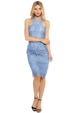Ministry of Style - Cross Section Fitted Midi Dress - Sky Blue - Front