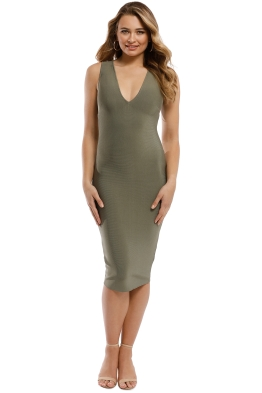 Misha Collection - Solange Bandage Dress - Khaki - Front