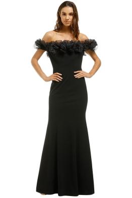 Montique-Mischa Organza Rose Black Gown-Black-Front