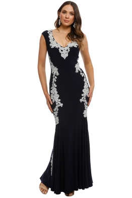 Montique - Ava Embroidered Gown - Navy - Front