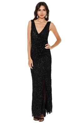 Montique - Layla Hand Beaded Gown - Black - Front
