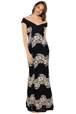 Montique - Savannah Lace Gown - Black - Front