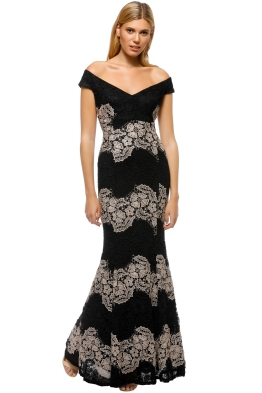 Montique - Savannah Lace Gown - Black Nude - Front
